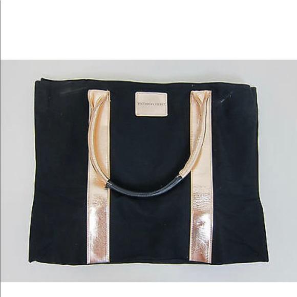 Victoria's Secret Handbags - Victoria's Secret Black Tote & Rose Gold Handles -